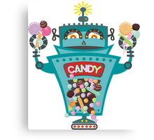 Retro robot colorful candy machine Canvas Print