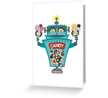 Retro robot colorful candy machine Greeting Card