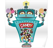 Retro robot colorful candy machine Poster