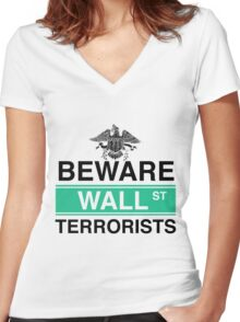 Wall Street Terrorists Women's Fitted V-Neck T-Shirt