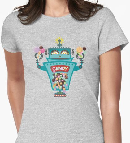 Retro robot colorful candy machine Womens Fitted T-Shirt