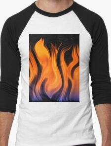 red flame background Men's Baseball ¾ T-Shirt