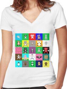 Multiple Hugimals Women's Fitted V-Neck T-Shirt