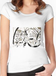 Fruit picking under a tree Women's Fitted Scoop T-Shirt