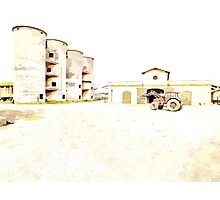 Farm tractor and silos Photographic Print