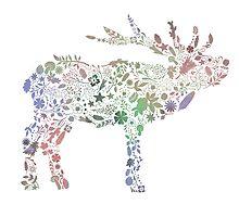 Floral Reindeer by brouhahabazaar