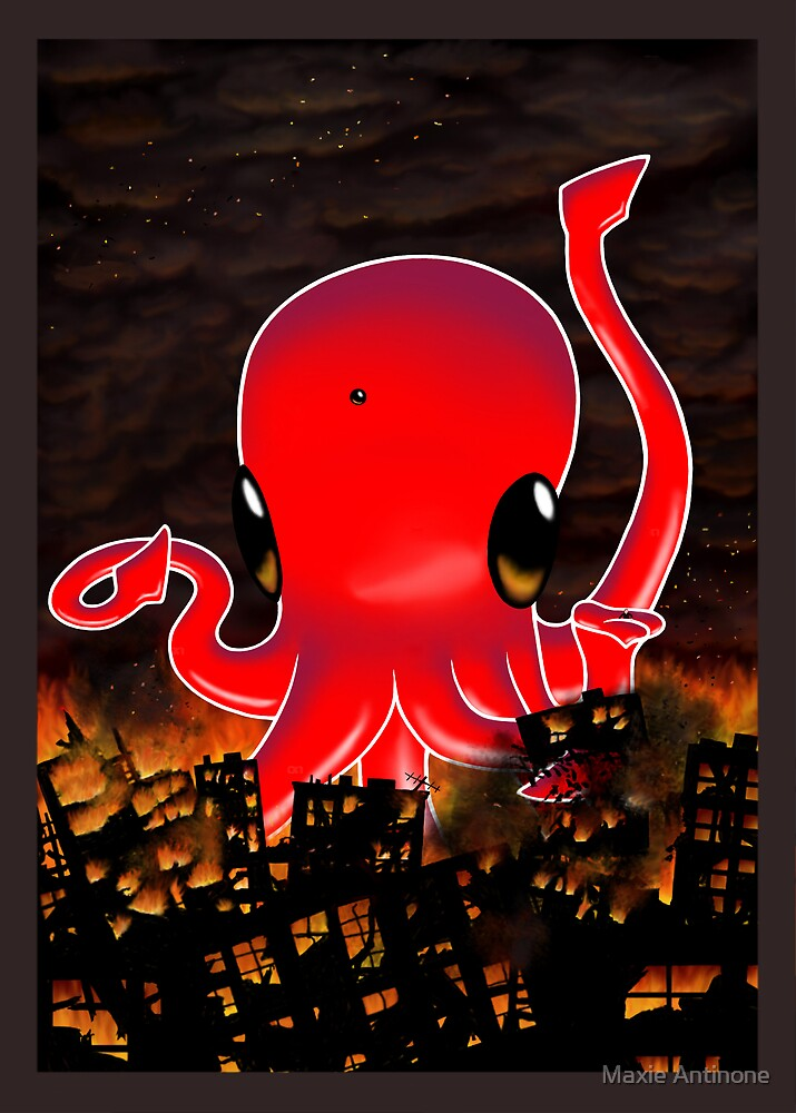 Octopus Destroying a City No. 2 by Maxie Antinone