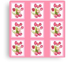 9 bunches of Pink Tulip Flowers by Kristie Hubler Canvas Print