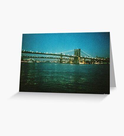 Brooklyn Bridge at Night Greeting Card