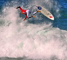 Kelly Slater in 2009 Rip Curl Pro freestyle at Bells Beach by Andy Berry