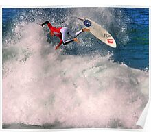 Kelly Slater in 2009 Rip Curl Pro freestyle at Bells Beach Poster