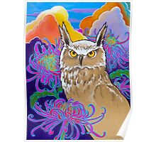 Sunset in the Garden of the Owl Poster