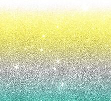 Aqua,White, and Yellow Faux Glitter Gradient by Blkstrawberry