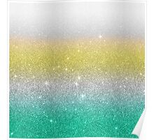 Aqua,White, and Yellow Faux Glitter Gradient Poster