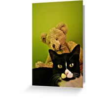 Big Teddy And Tuxedo Cat Greeting Card