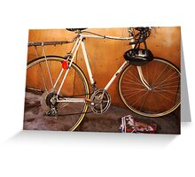 the wall, the bike and the ghost of a good time Greeting Card