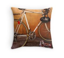 the wall, the bike and the ghost of a good time Throw Pillow