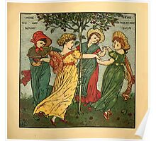 Walter Crane's Painting Book 1889 53 - Here We Go Round The Mulberry Bush Color Poster