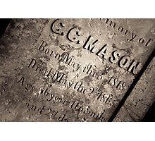 TCM - C.C. Mason Grave Photographic Print