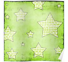 Green Stars Abstract Art Poster
