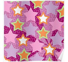 Purple, Green & Orange Star Abstract Artwork Poster