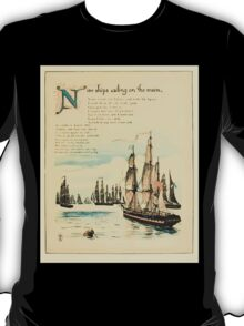 The Buckle My Shoe Picture Book by Walter Crane 1910 53 - Nine Ships Sailing on te Main T-Shirt