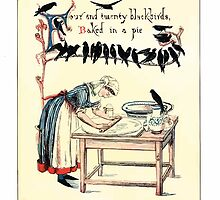 The Song Of Sixpence Pocket Book 1909 Walter Crane 15 - Four and Twenty Blackbirds Baked in a Pie by wetdryvac