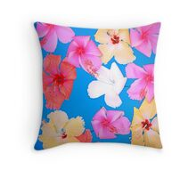 Colorful Hibiscus Floating in a Pool Throw Pillow