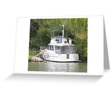 Preparing the boat for fishing. River Murray, Mannum. Greeting Card