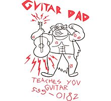 High Quality Vector Guitar Dad, Teaches You Guitar  Photographic Print