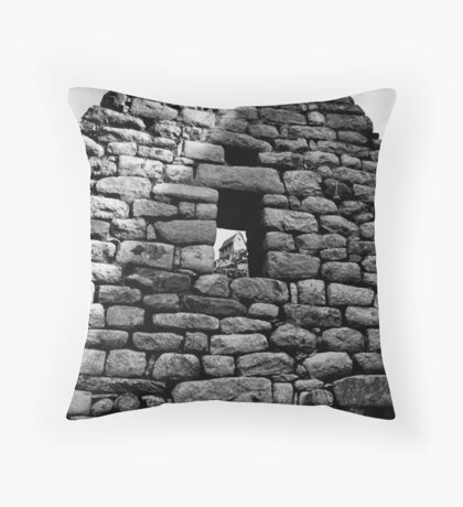 Hut in Window at Machu Picchu Throw Pillow