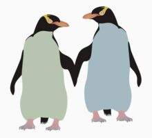 Blue Penguins Holding hands Kids Tee
