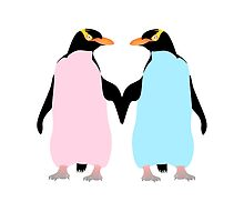 Pastel Penguins holding hands by piedaydesigns