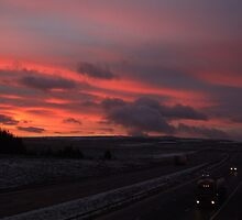 M6 Sunrise over the Pennines.U.K. by Phil Mitchell