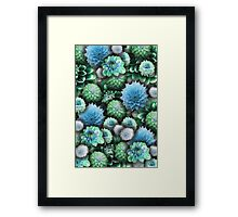 Blue and Green Dahlias Collage Framed Print