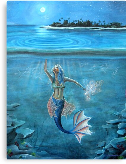 Mermaid collecting moonlight. by Tina-Renae