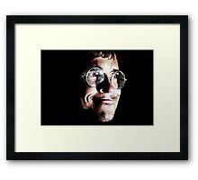 self-portrait of the artist contemplating mad science (or 'the sixth beatle') Framed Print