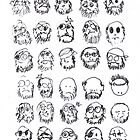 50 Self Portraits I Drew Without a Magnifying Glass by Peter Searle ( the Elder )