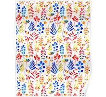 watercolor floral pattern Poster