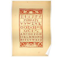 The Golden Primer by John Miller Dow, Illustrated by Walter Crane 1884 36 - Alphabet Lower Case Upper Case Poster