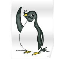 Penguin Waving with Moustache Poster