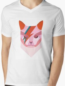 David Bowie Cat Mens V-Neck T-Shirt