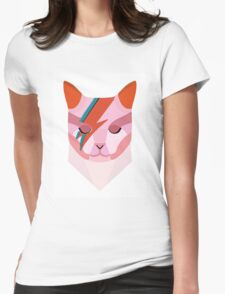 David Bowie Cat Womens Fitted T-Shirt