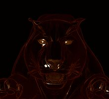 Panther head on black by Kay Patterson