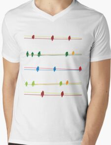 Birds on wire Mens V-Neck T-Shirt