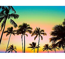 Neon Palm Sky Photographic Print