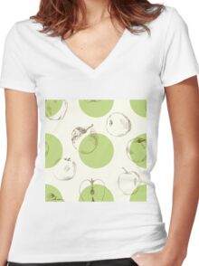 seamless pattern made of scattered decorative apples Women's Fitted V-Neck T-Shirt