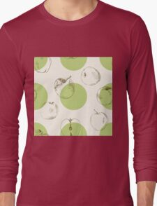 seamless pattern made of scattered decorative apples Long Sleeve T-Shirt