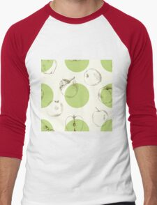 seamless pattern made of scattered decorative apples Men's Baseball ¾ T-Shirt