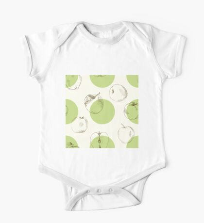 seamless pattern made of scattered decorative apples One Piece - Short Sleeve